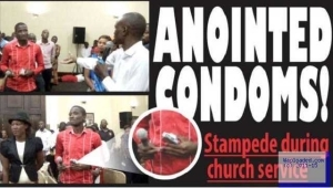 Photo: Church Members Scramble For Holy Condom Blessed By Pastor In Kenya